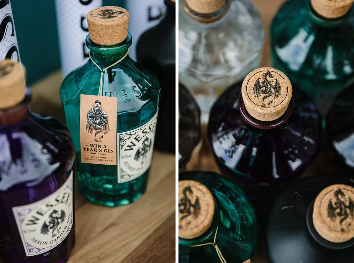 detail image of gin bottles personal branding photo shoot session surrey wessex gin distillery guildford alfred_the_great brand photographer business corporate headshot production stills photo photographer